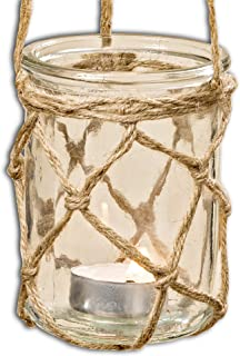 WHW Whole House Worlds Mariners Ahoy Netted Hurricane Candle Lantern, for Led Wax Votive Pillar Candles, Wind Light, Clear Glass, Jute Rope Handle Hangers, 3 D x 4 1/2 T Inches