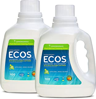 Earth Friendly Products ECOS 2X Liquid Laundry Detergent with Built in Softener, Lemongrass, 200 Loads, 2 x 100 oz Bottles