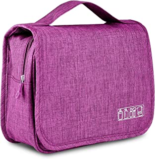 Ceephouge Hanging Travel Toiletry Bag, Bathroom Shower Bags Foldable Toiletries Tote for Men Women Water Resistant Dopp Kit Organizer (Purple)