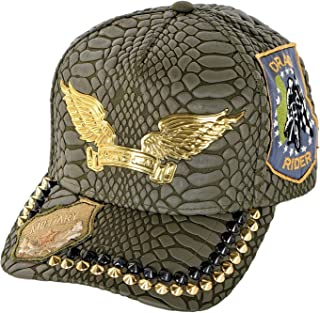 Curve Bill Snap Back Hat With Gold and Black Spikes and Patches One Size Green