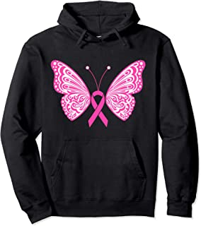 Breast Cancer Awareness Pink Ribbon Tribal Butterfly Tattoo Pullover Hoodie