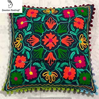 Indian Designer Home Decor Floral Cotton Accent Pillow Case Decorative Sofa Boho Chic Bohemian Throw Pillow Cover, Sequin Pillow Insert Hand Embroidered Suzani Cushion Cover, Boho Decor Handmade Couch