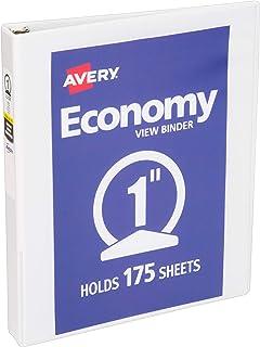 Avery 5760 Economy View Binder with 1 Inch Round Ring, White, 1 Binder