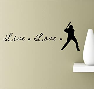 Live love baseball silhouette Vinyl Wall Art Inspirational Quotes Decal Sticker
