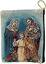 Religious Gifts Catholic Rosary Tapestry Pouch The Holy Family, Jesus, Mary and Joseph, Keepsake Case