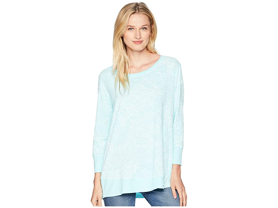 Fresh Produce White Tides Emily 3/4 Sleeve Top (Seaglass) Women's Long Sleeve Pullover