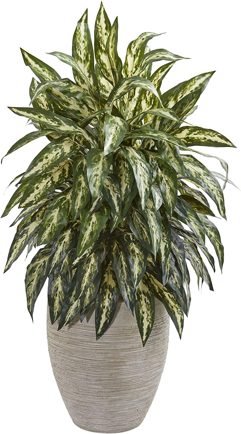Nearly Natural 8198 Aglaonema Artificial Sand colord Planter Silk Plants Green
