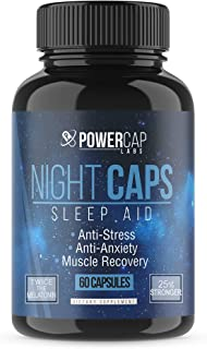 Night Caps - Highest Quality Sleep Aid for Adults Extra Strength, Non-Habit Forming, Promotes Restful Sleep, with Melatonin, Valerian Root, and Oleamide. Insomnia Relief. 60 Vegan Capsules