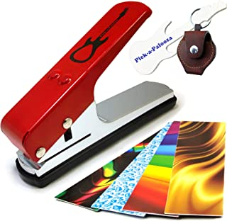 (Gift Pack, Red) - Pick-a-PaloozaDIY Guitar Pick Punch - The Premium Guitar Pick Maker and a Leather Key Chain Pick Holder...