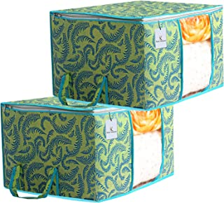 Kuber Industries Metalic Printed 2 Piece Non Woven Underbed Storage Bag,Storage Organiser,Blanket Cover with Transparent Window,Extra Large, Green CTKTC034452