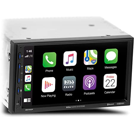 BOSS Audio Systems Elite BE7ACP Car Multimedia Player with Apple CarPlay Android Auto - 7 Inch LCD Capacitive Touchscreen, Double Din, Bluetooth, No CD/DVD Player, USB, SD, AV in, AM/FM Radio