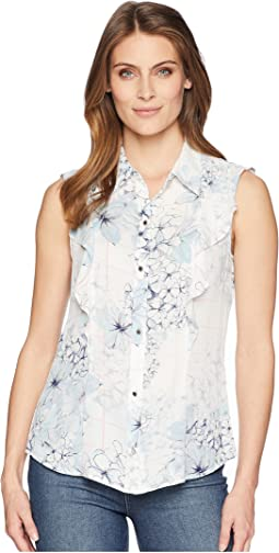 Sleeveless Ruffle Blouse with Collar