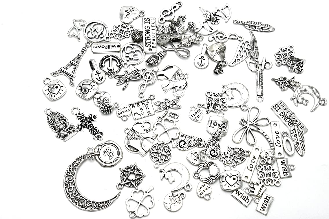Youkwer 100 Gram(Approx 80pcs) Assorted DIY Antique Mixed Charms Pendants Punk Accessories for DIY Crafting and Jewelry Making (Antique Silver)