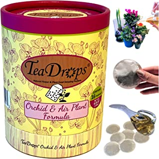 TeaDrops Organic ORCHID + BROMELIAD + AIR PLANT Food [16 Packets Feed 100s of Plants] Makes Natural Liquid Bio Fertilizer Tea to Boost Leaf / Root / Blossom Growth (EASY + NO SMELL)