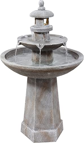 wholesale Sunnydaze 2-Tiered Pagoda Outdoor Water Fountain with LED Light - Polyresin Lighted Backyard Water Feature - Ideal high quality Garden Decor Accent for Yard, Patio, or high quality Garden - 40-Inch sale