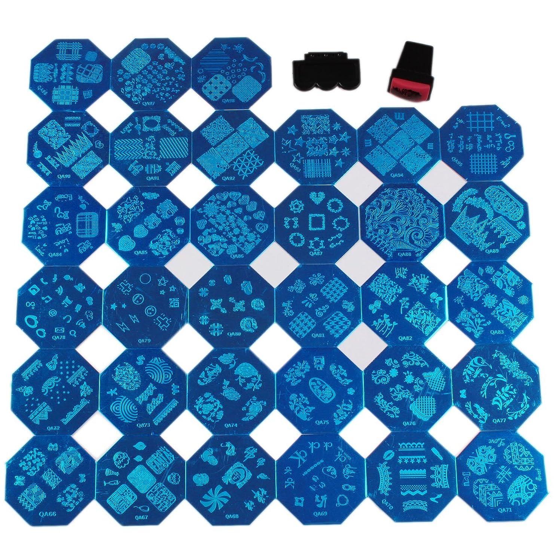化合物に対応特別なFingerAngel ネイルイメージプレートセット 八角形ネイルプレート 33枚 スタンプ スクレーパー付き ネイルサロンも自宅も適用なネイルプレート 初心者に簡単に仕上がるネイルアート