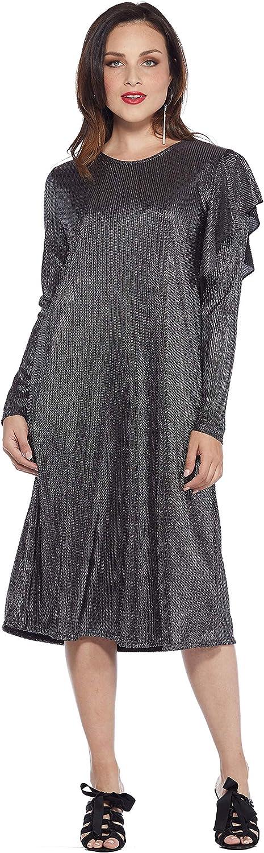 WUKOgals REIS Modest Below Knee Occasion Long Sleeve A-Line Dress with Shoulder Ruffle Detail
