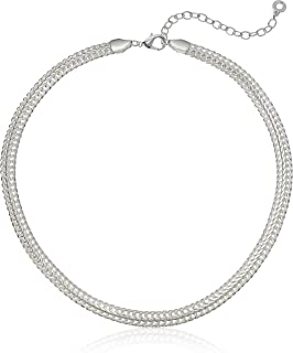 Classics Silver Tone 17-Inch Flat Collar Chain Necklace, Adjustable