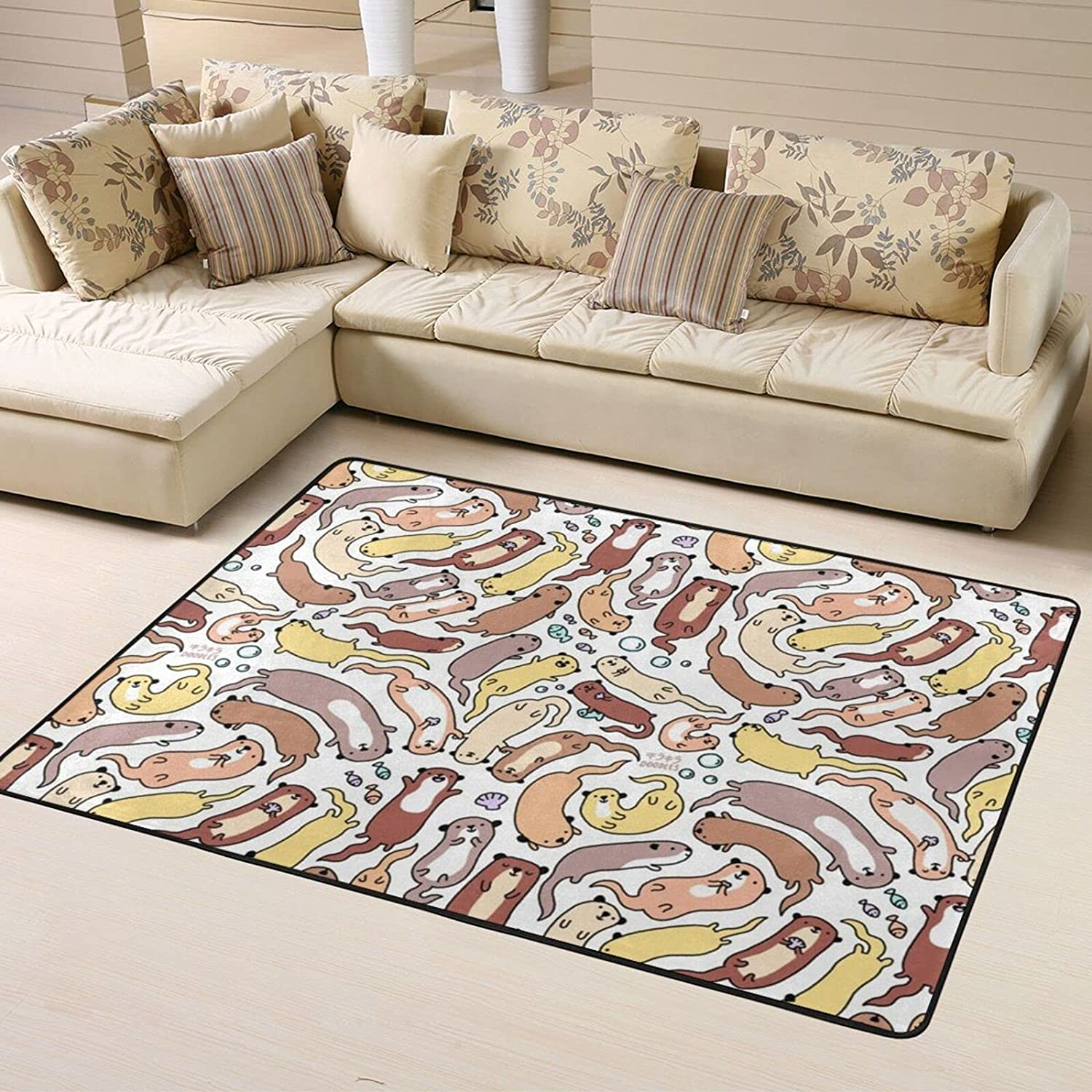 Funny Otter Translated Pattern Super Special SALE held Design Soft Area Rugs Roo for Bedroom Living