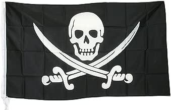 G.V Piraten vlag Caribisch piraten Freibeuter vlag doodskop gekruiste zwaarden 90x150 cm hoogwaardige, robuuste stof