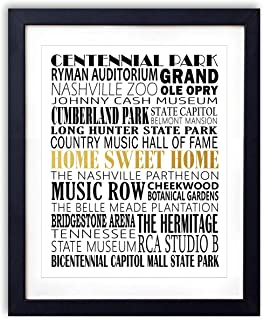 Gold Foil Art Print – Nashville City Landmarks Typography With Gold Foil Home Sweet..