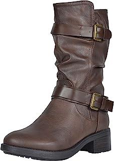 DREAM PAIRS Women's Faux Fur Mid Calf Riding Winter Boots