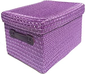 topfurnishing Neon Bright Colours Kids Playroom Toy Box Cupboard Storage Basket Handle  amp  Lid Purple LARGE 32x25x22cm