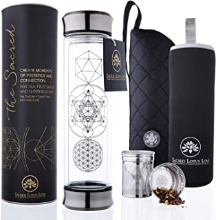 The Sacred Glass Tea Infuser Bottle + Strainer for Loose Leaf, Herbal, Green or Ice Tea. 415ml/14oz Cold Brew Coffee Mug +...
