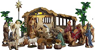 Queens of Christmas 21 Piece Nativity Set, Brown, Gold, Blue
