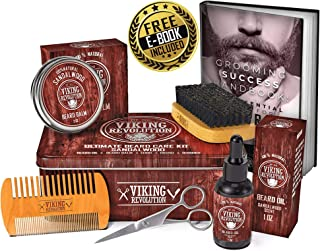 Beard Care Kit for Men- Sandalwood- Ultimate Beard Grooming Kit includes 100% Boar Beard Brush, Wood Beard Comb, Sandalwood Beard Balm, Sandalwood Beard Oil, Beard & Mustache Scissors- Metal Gift Box