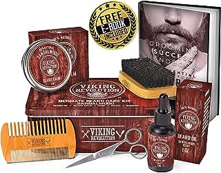 Beard Care Kit for Men- Sandalwood- Ultimate Beard Grooming Kit includes 100% Boar Beard Brush, Wood Beard Comb, Sandalwood Beard Balm, Sandalwood Beard Oil, Beard & Mustache Scissors- Metal Gift Box