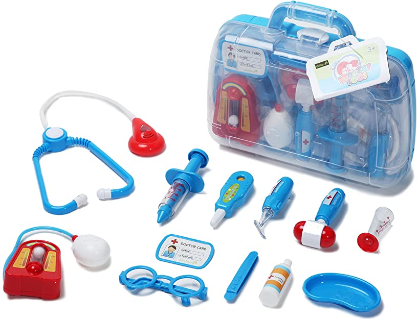Unilove Doctor Kit Pretend Play Medical Set Case Doctor Nurse Game Playset Gift for Kids Boys Girls Over 3 Years Old (Blue)
