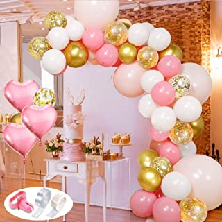 Pink and Gold Balloons Garland Arch Kit with Heart Hoil Balloons Latex Balloons Confetti Balloons for Girl Birthday Baby S...
