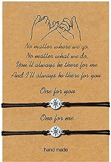 """أسورة مكتوب عليها عبارة """"Pinky Promise Bracelet Morse Code Jewelry هدية أساور عباد الشمس لأفضل الأصدقاء والنساء والرجال وا..."""