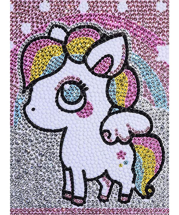 Diamond Painting for Kids Full Drill Paint with Diamonds Rhinestone Picture Arts (Unicorn 3)