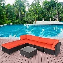Kinbor 7-Pieces Outdoor Patio PE Rattan Wicker Sofa Sectional Furniture Cushioned Set (Orange)