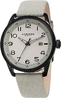 Akribos XXIV Men's Leather Watch – Casual Grey Suede Designer Wristwatch – Classic Round Analog Quartz - AK1029GY