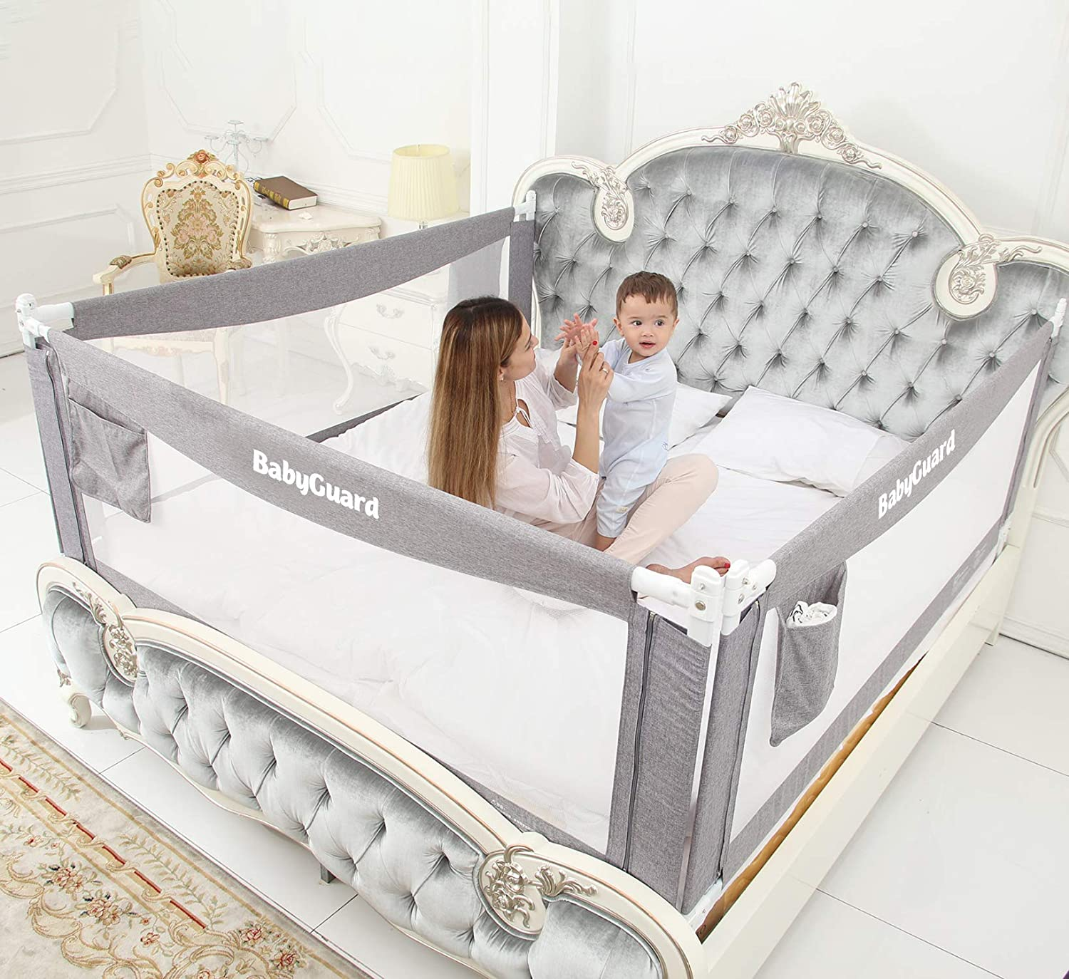 BabyGuard Bed Rails for Toddlers - Extra Long and Tall Specially Designed for Twin, Full, Queen, King & California King Bed Mattress (3 Sides, Perfect for California King Bed)