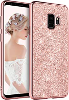 BENTOBEN Phone Case for Samsung Galaxy S9 Ultra Slim Protective Shockproof Phone Cases Luxury Glitter Sparkle Bling Pretty Cases Shiny Girly Phone Cover with Lanyard for Girls Women - Rose Gold