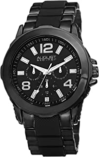 August Steiner Men's Casual Multifunction Watch - Dark Dial with Big numbers and Day of Week, Date, and 24 Hour Subdial on...