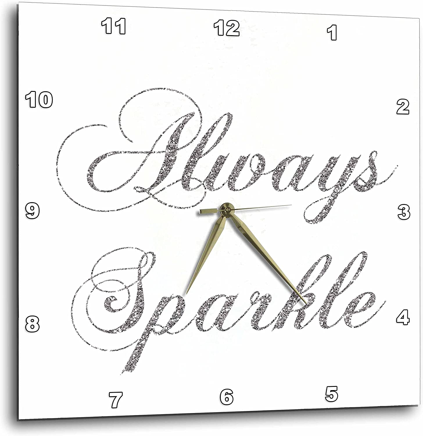 3dpink Silver Image of Glitter Always Sparkle - Wall Clock, 13 by 13-Inch (DPP_186760_2)