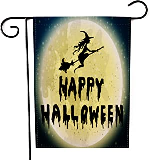 """Fiuqaomy Happy Halloween Witch Garden Flag Vertical Double Sized, Holiday Burlap Yard Outdoor Decoration 12.6"""" 18.5"""""""