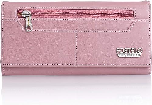 Fostelo Women's Versatile Two Fold Wallet (Light Pink)