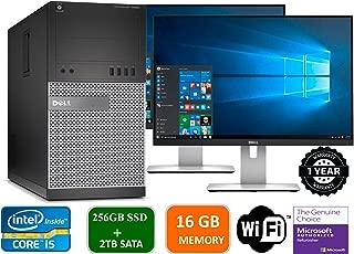 Dell Optiplex 9020 Mini Tower Desktop PC, Intel Core i5-4570, 16GB Ram, 2TB SATA Drive + 256GB SSD WiFi, DVD-RW, Dual 19