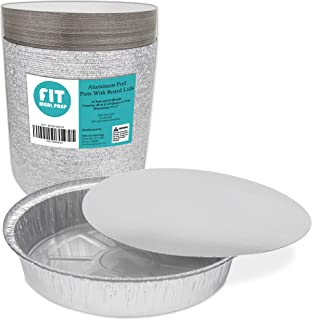 Round 9 Inch Disposable Aluminum Foil Pan Take Out Food Containers with Flat Board Lids, Steam Table Baking Pans, 40 oz, 2.75 lb, 1.5 Quart [45 Pack]