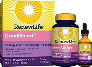 Renew Life Adult Cleanse - CandiSmart - 15-Day Yeast Cleansing Program - 2-Part Kit - Gluten & Dairy Free - 60 Vegetarian Capsules + 1 Fl. Oz. Tincture (Packaging May Vary)