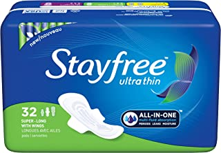 Stayfree Ultra Thin Super Long Pads with Wings For Women, Reliable Protection and Absorbency of Feminine Moisture, Leaks and Periods, 32 count