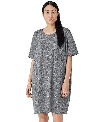 Eileen Fisher Crew Neck Short Sleeve Dress in Organic Cotton Hemp Melange