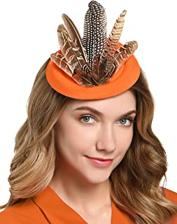 Fascinator Hats for Women Pillbox Hat Pheasant Feather Race Hair Clip Headband