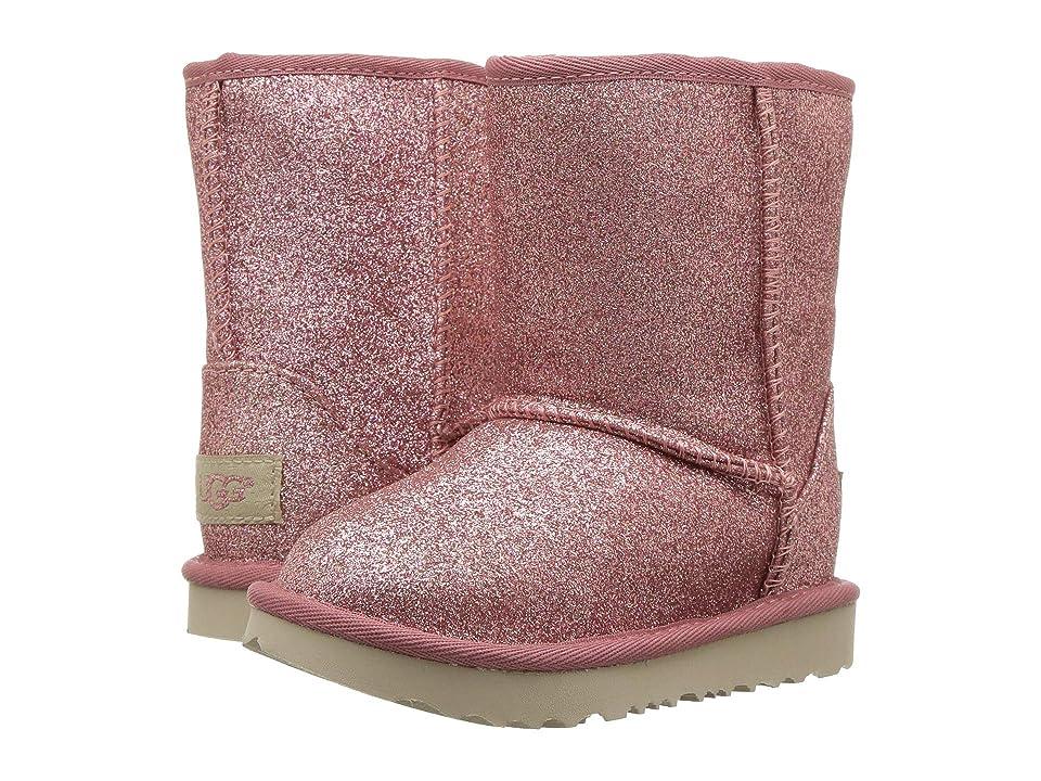 UGG Kids Classic Short II Glitter (Toddler/Little Kid) (Pink) Girls Shoes